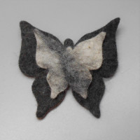 Felted double butterfly brooch in natural alpaca.