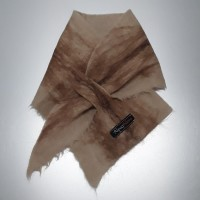 ** NEW ** Small scarf neck warmer : Felted in natural alpaca : Nicandro fawn matbled with caramel brown chocolate