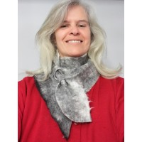 ** NEW ** neck warmer in natural alpaca : grey on white marble color