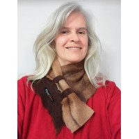 ** NEW ** neck warmer in natural alpaca : shades of caramel brown chocolate