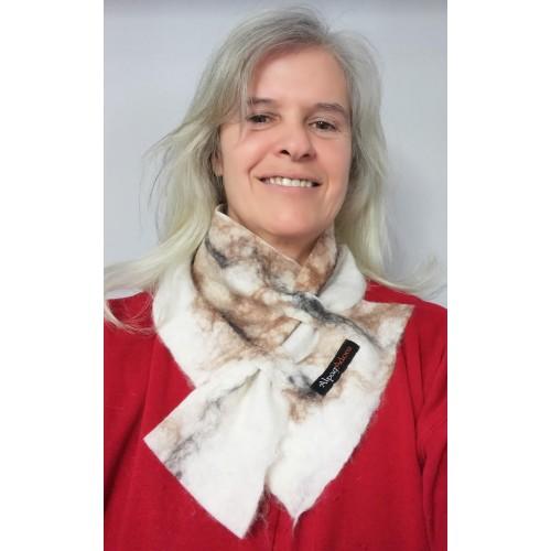 Cache-cou alpaga feutré / foulard : couleur blanc naturel Krystal marbré