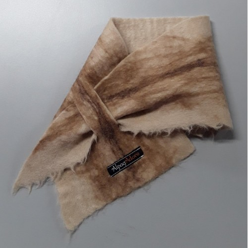 Alpaca neck warmer / Small scarf : Felted in natural alpaca : Nicandro fawn matbled with caramel brown chocolate