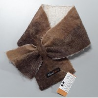 Alpaca neck warmer / Small scarf : Felted in natural alpaca : shades of caramel brown chocolate