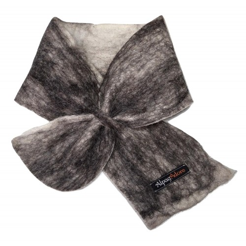 ** NEW ** Small scarf neck warmer : Felted in natural alpaca : grey on white marble color