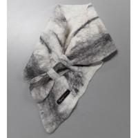 Alpaca neck warmer / felted scarf in natural alpaca : shades of grey-black-white