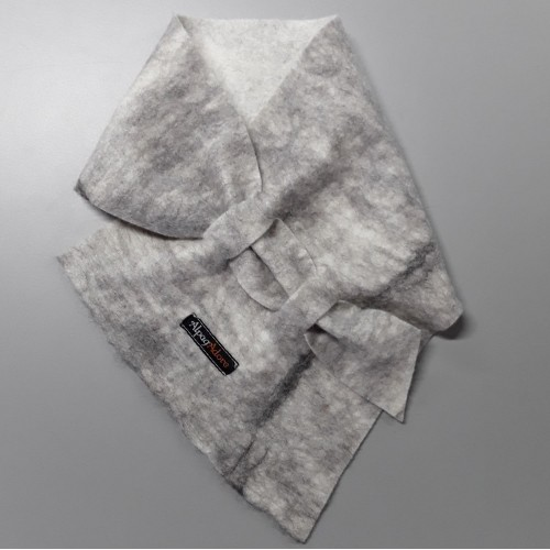 Alpaca Neck warmer / scarf in natural alpaca : grey on white marble color