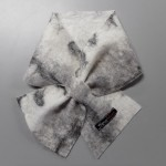 Alpaca neck warmer / Small scarf : Felted in natural alpaca : grey on white marble color