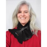 ** NEW ** Small scarf neck warmer : Felted in natural black alpaca