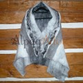 Châle / foulard gris Gunsmoke - 100% alpaga naturel - feutré - réversible