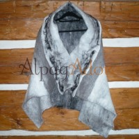 Shawl / throw / scarf / wrap - 100% natural alpaca - felted - reversible
