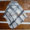 Châle triangle / poncho / foulard - 100% alpaga naturel - feutré - réversible