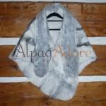 Shawl / poncho / scarf - 100% natural alpaca - felted - reversible