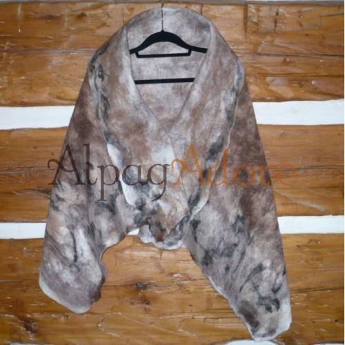 Châle / jeté / foulard - 100% alpaga naturel - feutré - réversible