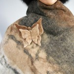 Shawl / poncho / scarf - natural alpaca - felted