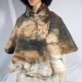 Châle triangle / poncho / foulard - alpaga naturel - feutré : marbré fauve, noir, brun