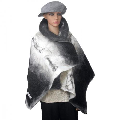 Châle leger / grand foulard pour femmes - 100% alpaga naturel - feutré - réversible - noir blanc gris