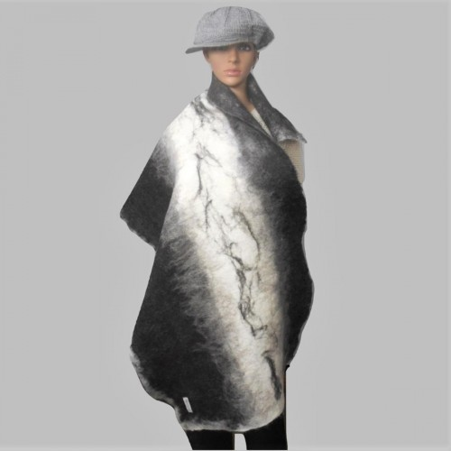 Luxury Alpaca Shawl /  womens scarf wrap - 100% natural alpaca - felted - reversible - black white grey