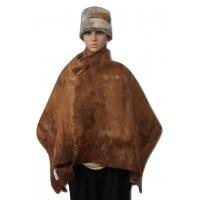 Châle leger / grand foulard pour femmes - 100% alpaga naturel - feutré - réversible - bruns cuivre