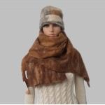 Shawl /  womens scarf wrap - 100% natural alpaca - felted - reversible - copper browns