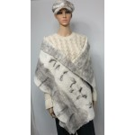 Large scarf / womens shawl / wrap - 100% natural alpaca - white black silver grey