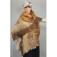 Large scarf / womens shawl / wrap - 100% natural alpaca - blond - ginger - brown