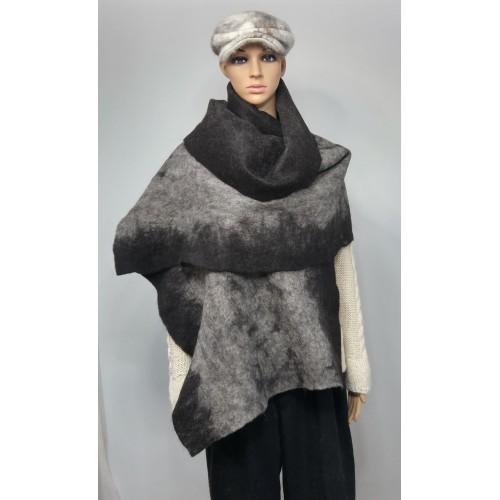Grand foulard / châle pour femmes - 100% alpaga naturel - noir charcoal gris argent