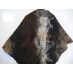 Châle triangle / poncho / foulard - alpaga naturel - feutré