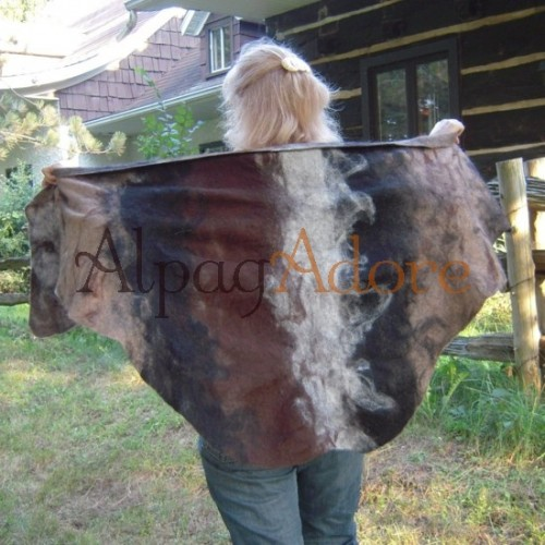 Shawl / poncho / scarf - natural alpaca - felted
