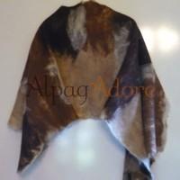 Châle leger / grand foulard - 100% alpaga naturel - feutré - réversible