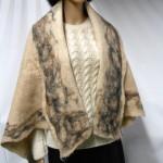 Shawl / scarf / wrap - marbled border - 100% natural alpaca - felted