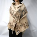 Shawl / scarf / wrap - marbled border - 100% natural alpaca - felted