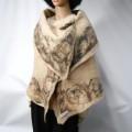 Châle / foulard - bordure marbré- 100% alpaga naturel