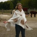Shawl /  womens scarf wrap - 100% natural alpaca - felted - white and fawn