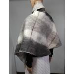 Châle alpaga / grand foulard triangulaire pour femme - alpaga naturel feutré - gris multi tons