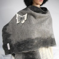 Shawl / poncho / wrap - grey and black - 100% natural alpaca