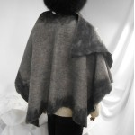 Shawl / poncho / wrap - grey and black - 100% natural alpaca