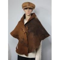 Womens shawl / cape / scarf - natural alpaca - felted - warm brown tones