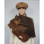 Womens shawl / cape / scarf - natural alpaca - felted - warm brown tones