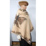 Shawl / cape / wrap - butterfly - marbled border - 100% natural alpaca - felted