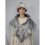 Shawl / scarf / shoulder cape : triangular : 100% natural alpaca : silver grey marble