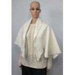 Lightweight alpaca and silk shawl: natural ivory white color