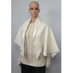 Châle léger en alpaga et soie : couleur blanc ivoire naturel