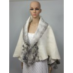 Lightweight alpaca and silk shawl: natural ivory white with grey marbling