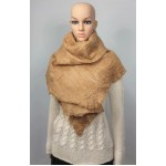 Lightweight alpaca and silk shawl: natural golden fawn color