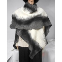 Shawl / poncho / wrap - grey-black-white - 100% natural alpaca