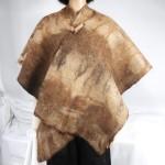 Shawl / poncho / wrap - brown tabby  - 100% natural alpaca