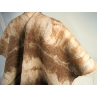 Châle / poncho - tigré tons bruns - 100% alpaga naturel