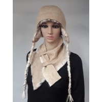 Chullo style hat with ear protection : fully lined / reversible : 100% natural felted alpaca : womens tuque / mens tuque