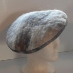 French beret 100% natural felted alpaca : marbled white and brown : womens beret / mens beret