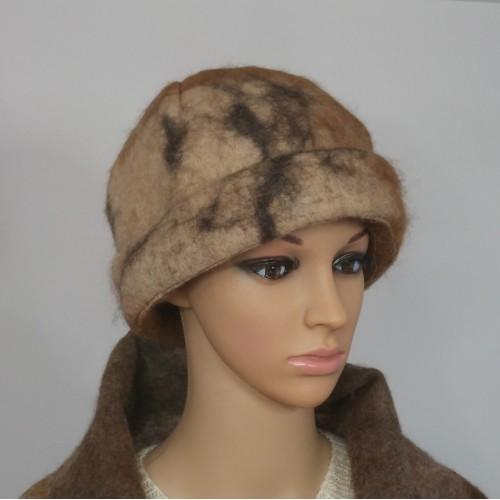 Chapeau feutré / tuque à rebord : 100% alpaga naturel : tuque pour femme ou homme